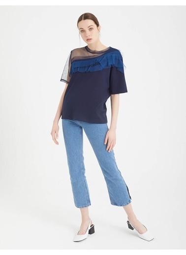 BGN Lacivert - Tül Yaka Detaylı Bluz Lacivert